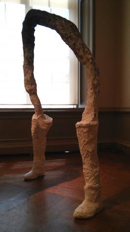 "HELENA CERVANTES  Dissolve  2015, plaster, wire, pvc pipes, wood, burlap, string, body casts, 5'9"" x 5'4""."