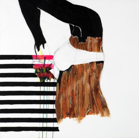 Jessica Maria Hopkins  March 11  2019, acrylic, graphite on canvas, 30 x 30 inches.