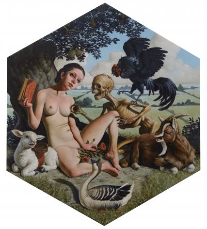 Erik Thor Sandberg  Pause  2019, oil on panel, 13 x 11 inches.