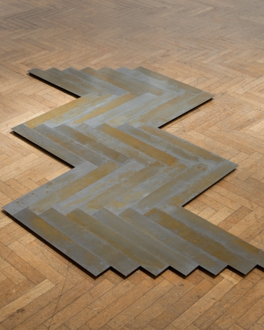 MICHAEL SCHIFFER  Wood Grain Herringbone #1  2016, patina, steel, 73 x 43 x 1 inches.