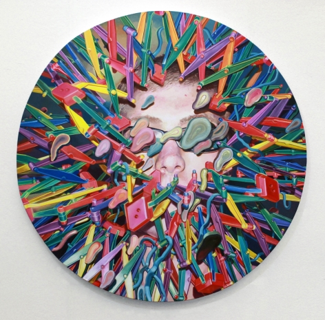 JASON RESSLER Solace in the Hyper-Sphere 2011-12, oil on canvas, 75 inches (diameter)
