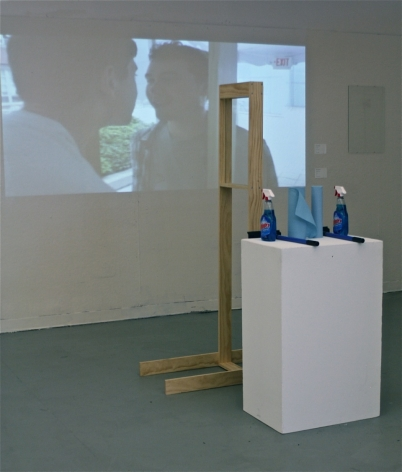 ZACHARY GOLDMAN The Kissing Glass 2012, wood, screws, glass, Windex, squeegees, shop towels, 72 x 47 x 18.5 inches