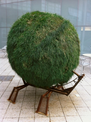 DAN GIOIA Sphere 2011, sod and steel, 84 x 84 x 60 inches.