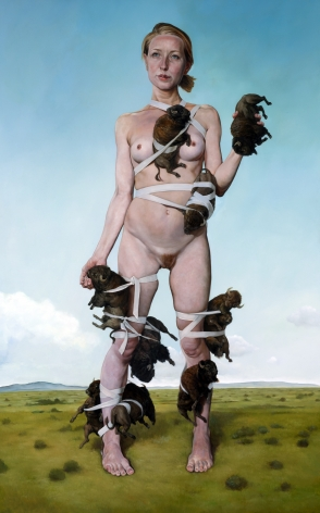 ERIK THOR SANDBERG  Manifest  2015, oil on panel, 70 x 43 inches