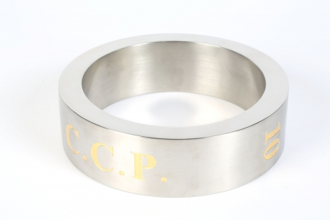 Koen Vanmechelen Ringed stainless steel ring with engraving, 2.25 x 8 x .75 inches