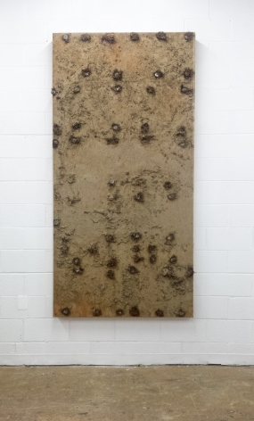 J.J. McCRACKEN  Thirst, and the Martyr (panel)  2013, panel with mud