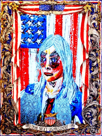 FEDERICO SOLMI_American Circus - The Next President of United States of America (video still)  2014, video painting, acrylic paint on plexiglass, gold and silver leaf, 1:46 video loop, 18 x 24 inches
