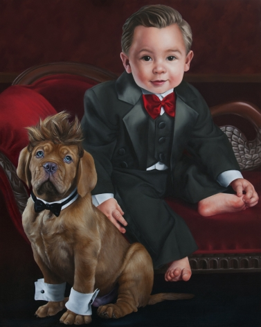 KATIE MILLER Portrait of Timmy Tuxedo and his Bow Little Wow Pal 2012, oil on panel, 20 x 16 inches