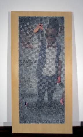 Wilmer Wilson IV TAR B 2018, staples and pigment print on wood, 96 x 48 x 1.5 inches