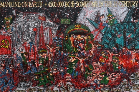 FEDERICO SOLMI Chinese Army Slaughtering Dick Richman Species 2010, mixed-media on paper mounted on wood, 20 x 30 inches