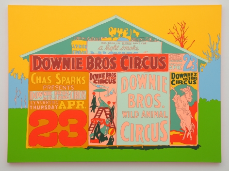 FRANCIS RUYTER  Walker Evans [Posters covering a building near Lynchburg to advertise a Downie Bros. circus], acrylic on canvas, 48 x 65 inches