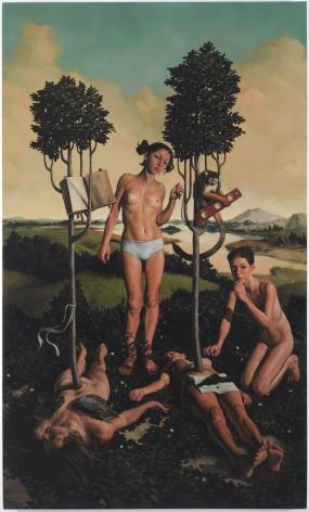 ERIK THOR SANDBERG Course 2009, oil on canvas, 100 x 60 inches.