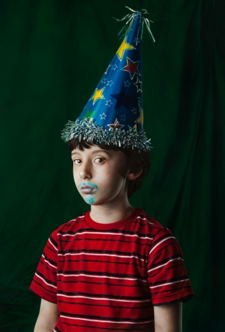 KATIE MILLER Youth in a Party Hat 2013, oil on panel, 34 x 23 inches.