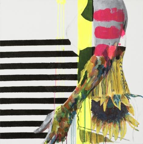 Jessica Maria Hopkins  June 6  2019, acrylic, ballpoint pen on canvas, 24 x 24 inches.
