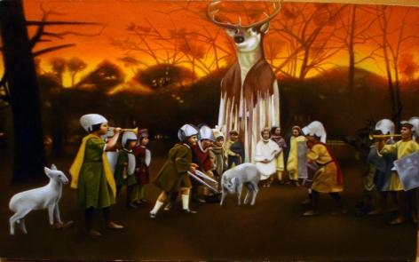JAMES SWAINBANK The Benevolent Elk 2008, oil on linen, 9 x 12 inches.