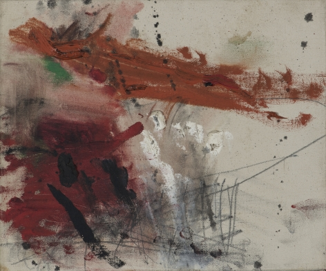 Gene Davis  Red Violence  1957, acrylic on canvas, 10 x 12 inches.