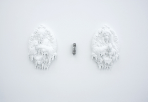 RYAN CARR JOHNSON Blind Faith 2013, layered paint atop wall busts, mice-metronome, 12 x 38 inches