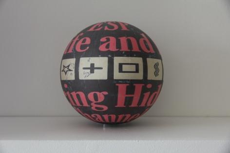Susan MacWilliam  ESP In Life And Lab  2013-14, inkjet paper, plastic sphere, 6 x 6 x 6 inches, unique.