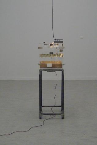 KOEN VANMECHELEN Incubator, Breeding Machine 2009, transparent incubator with audio, 61.5 x 17.5 x 17 inches