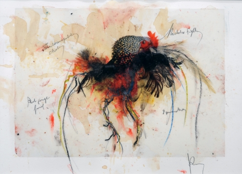 KOEN VANMECHELEN Untitled 2008, egg tempera, feathers, coffee and ink on paper, 10 x 14 inches