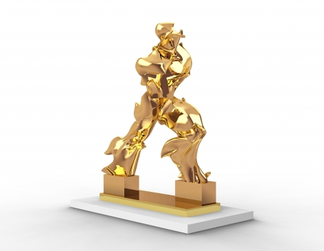 Barry X Ball Perfect Forms mirror-polished 24K gold on nickel sculpture 21 x 16.4 x 7 inches