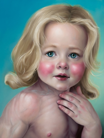 KATIE MILLER Portrait of Percival as the Beefcake Bambino 2012, oil on panel, 16 x 12 inches