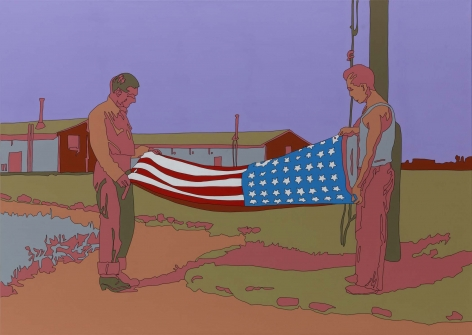 """LISA RUYTER Russell Lee """"Rupert, Idaho. Former CCC (Civilian Conservation Corps) camp now under FSA (Farm Security Administration) management. Japanese-Americans taking down their flag in the evening"""" 2011, acrylic on canvas, 39 x 55 inches"""