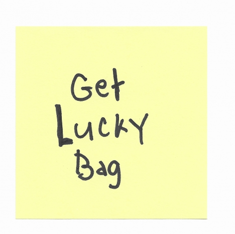 JOE OVELMAN  Post-it Series X (Get Lucky Bag)  ink on paper, 3 x 3 inches.