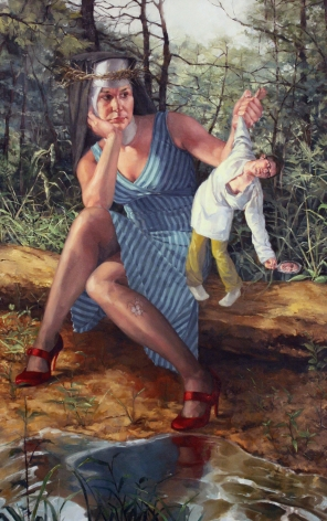 NATHANIEL ROGERS Catherine and Narcissus 2009, oil on panel, 23 x 15 inches