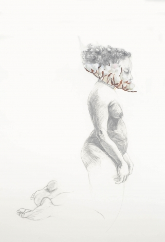 ZOË CHARLTON Cousin 2 (from Tallahassee Lassies) 2008, graphite and gouache on paper, 52 x 72 inches.