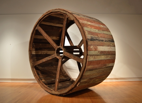 DANE WINKLER Almanac 2016, reclaimed barn lumber, 9 x 9 x 5 feet.