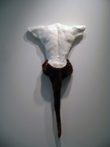 CECI COLE McINTURFF Interbeing 2012, hydrocal body cast, otter and mink fur, 47 x 24 x 3 inches.