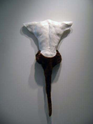 CECI COLE McINTURFF Interbeing 2012, hydrocal body cast, otter and mink fur, 47 x 24 x 3 inches.