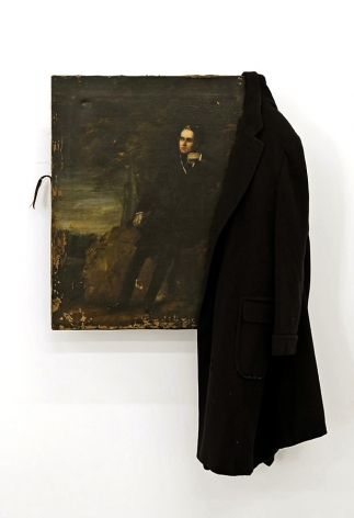 JOHN KIRCHNER The Poet in the Dark Woods ... 2009, oil on canvas and cashmere overcoat, 48 x 31 inches.
