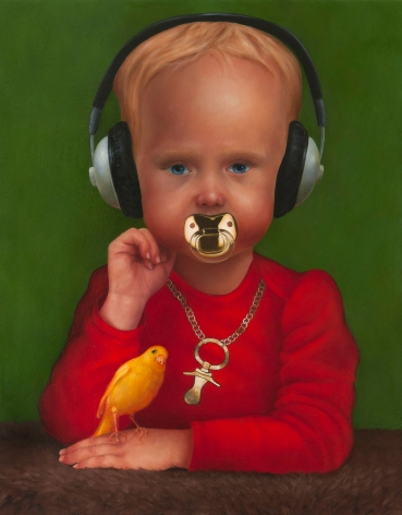 KATIE MILLER Young Bling Cole with a Merry Canary 2011, oil on panel, 14 x 11 inches