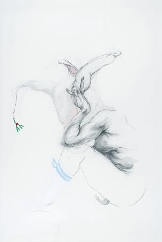 ZOЁ CHARLTON  Hide  graphite and gouache on paper, 55 x 50 inches.