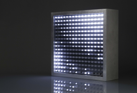 Leo Villareal  Bulbox 3.0  2004, light emitting diodes (LED), microcontroller, aluminum, 9 x 9 x 3, ed. 25.