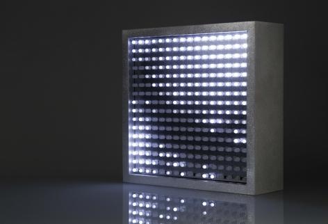 Leo Villareal  Bulbox 3.0  2004, light emitting diodes (LED), microcontroller, aluminum, 9 x 9 x 3, ed. 25.