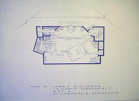 MARK BENNETT  Home of Mary Richards  1995, lithograph, 24 x 36 inches