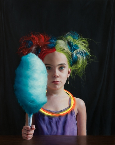 KATIE MILLER Girl with Bright Colored Hair 2013, oil on panel, 20 x 16 inches.