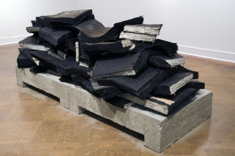 TRAVIS J. WAGNER Ta Biblia 2014, tar paper, twine, adhesive, concrete and steel, 33 x 88 x 40 inches.