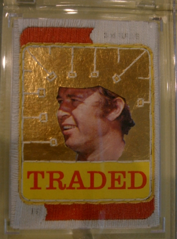 GRAHAM CHILDS  You Asked for a Cure, They Gave you a Kiss 2007, cotton embroidery floss on 1973 Topps, Ron Santo, baseball card, 7 x 7 inches.