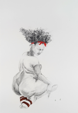 ZOË CHARLTON Cousin 1 (from Tallahasee Lassies) 2008, graphite and gouache on paper, 60 x 40 inches.