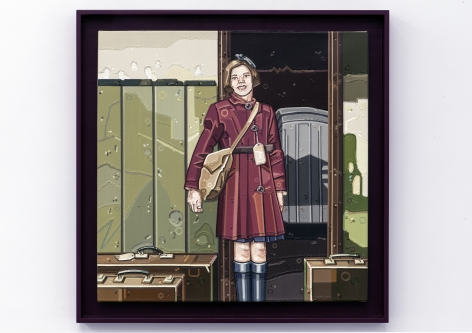 JULIE ROBERTS The Kinder Transport / New Dawn 2013, oil on linen, 24 x 24 inches. In custom artist designed frame, 27.75 x 27.75 inches