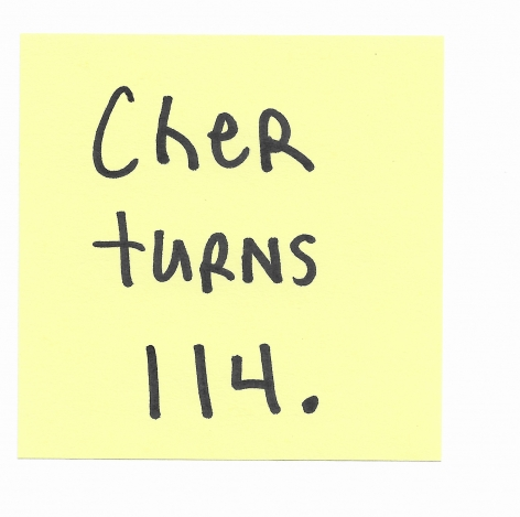 JOE OVELMAN  Post-it Series X (Cher turns 114)  ink on paper, 3 x 3 inches.