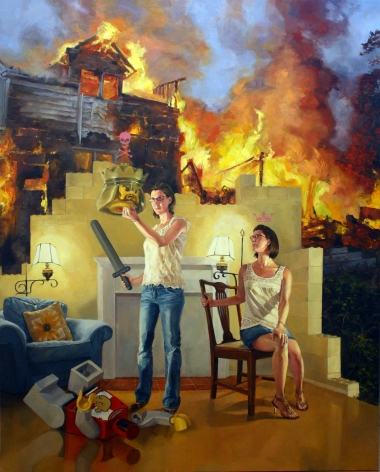 NATHANIEL ROGERS The King is Dead 2011, oil on panel, 40 x 32 inches