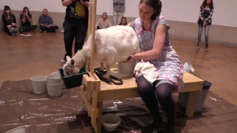 ROSEMARY MARKOWSKI Milk Spill (video still)  2016, performance documentation, run time: 4:48.