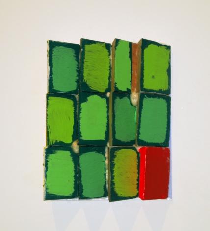 CORDY RYMAN Green Wedges 2009, acrylic, enamel and Gorilla Glue on wood, 11 x 9 x 3 inches
