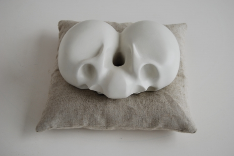 KENNY HUNTER Mirth, Melancholy, Misfortune and the Muse plaster, paint, linen and feathers, 13 x 13 x 6 inches sculpture