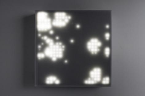 LEO VILLAREAL Primordial (2x2) 2013, light emitting diodes, microcontroller, custom software, circuitry, wood, plexiglas, 25.625 x 25.625 x 5 inches